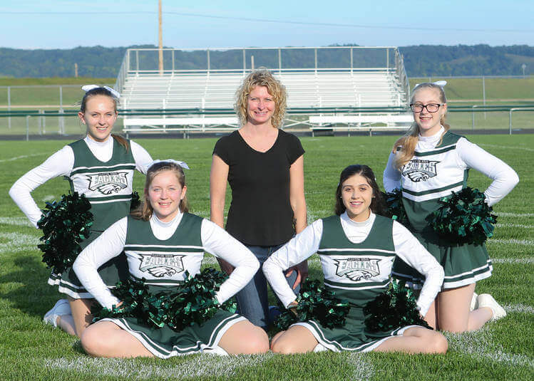 Cheerleading Team Photo with Coach Heather Meyer