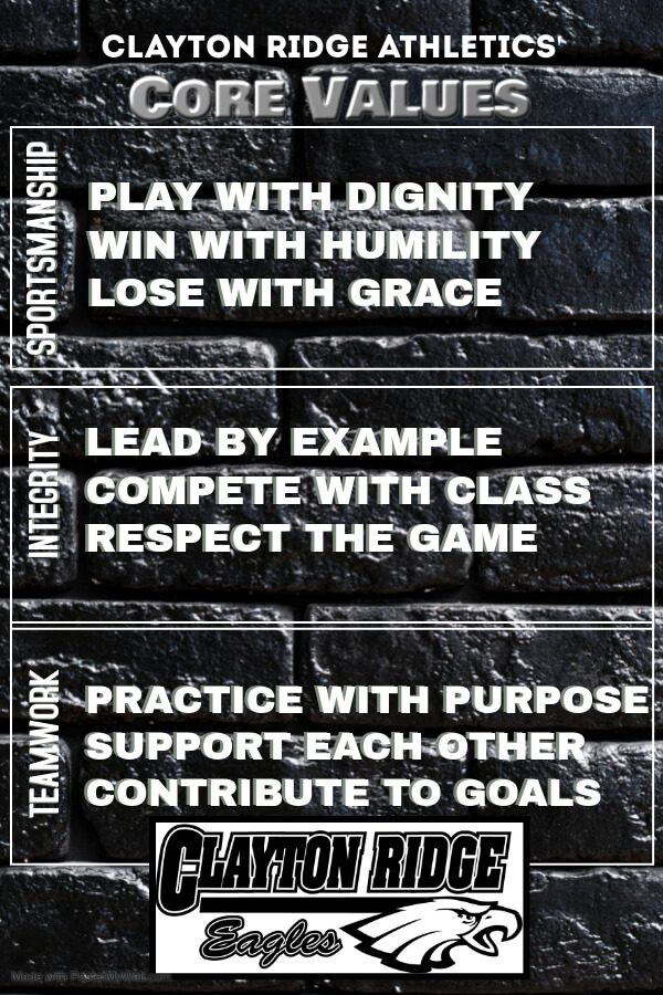 Clayton Ridge Athletics' Core Values Poster